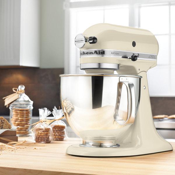 KitchenAid KSM150PSAC Artisan Series Almond Cream 5 Qt. Tilt Head Countertop Mixer - 120V Main Image 6