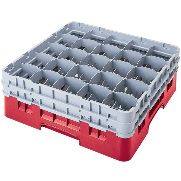 "Cambro 25S1058163 Camrack 11"" High Customizable Red 25 Compartment Glass Rack Main Image 1"