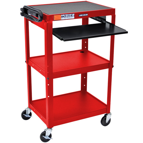 "Luxor AVJ42KB-RD Red Mobile Computer Cart / Workstation 24"" x 18"" with Keyboard Shelf"