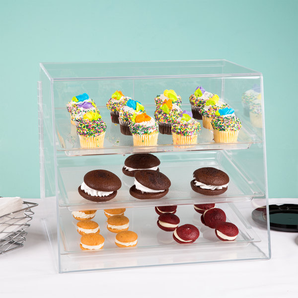 "Cal-Mil P241 Classic Three Tier Acrylic Display Case with Rear Door - 19"" x 16 1/2"" x 16"" Main Image 7"