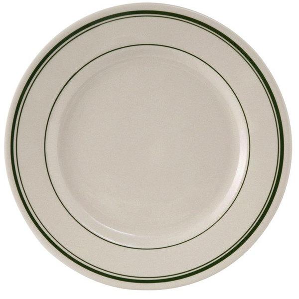 "Tuxton TGB-021 Green Bay 12"" Wide Rim Rolled Edge China Plate - 12/Case"