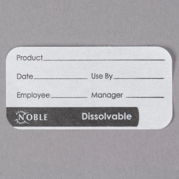 Noble Products 1 inch x 2 inch Dissolvable Product Label with Dispenser Carton - 500/Roll