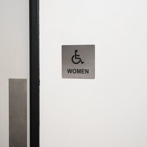 "Tablecraft B21 ADA Handicap Accessible Women's Restroom Sign - Stainless Steel, 5"" x 5"""