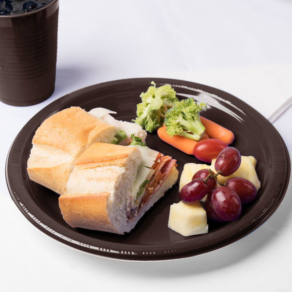 """Creative Converting 28303831 10"""" Chocolate Brown Plastic Plate - 240/Case"""