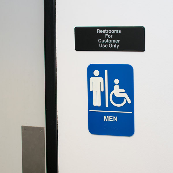 """Restrooms For Customer Use Only Sign - Black and White, 9"""" x 3"""""""