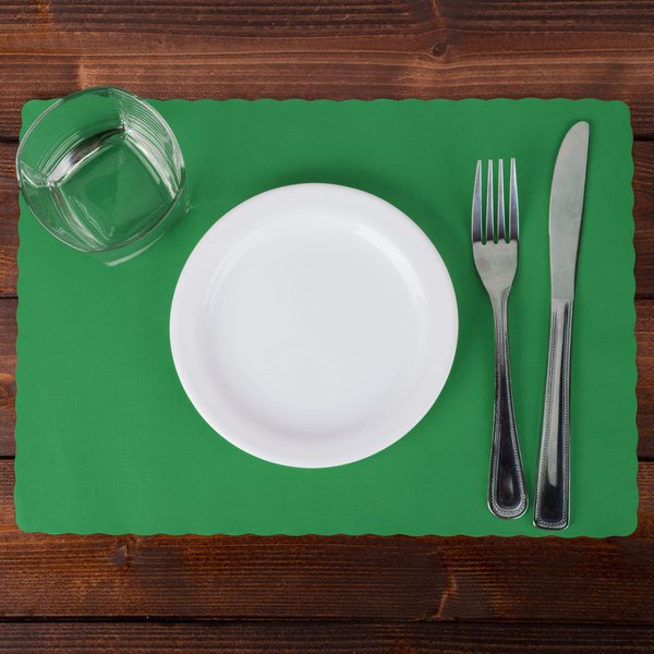 "Hoffmaster 310526 10"" x 14"" Jade Green Colored Paper Placemat with Scalloped Edge - 1000/Case Main Image 2"