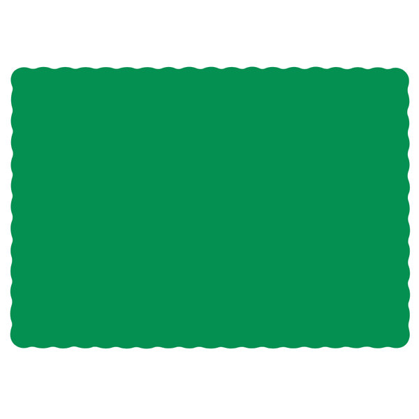 "Hoffmaster 310526 10"" x 14"" Jade Green Colored Paper Placemat with Scalloped Edge - 1000/Case"