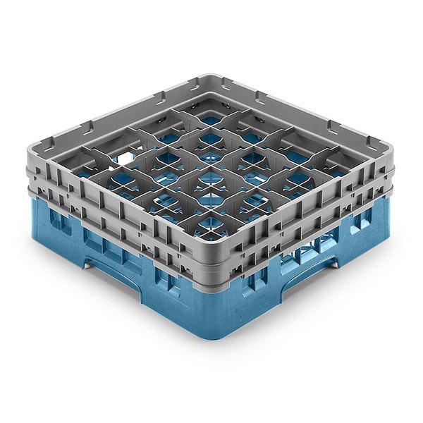 "Cambro 16S958414 Camrack Customizable 10 1/8"" High Customizable Teal 16 Compartment Glass Rack Main Image 1"