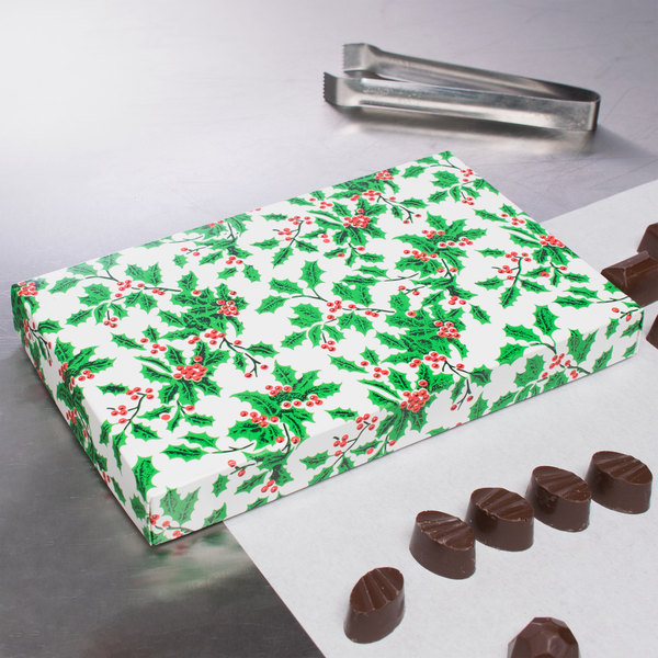 """9 3/8"""" x 5 5/8"""" x 1 1/8"""" 2-Piece 1 lb. Holly / Holiday Candy Box - 125/Case"""