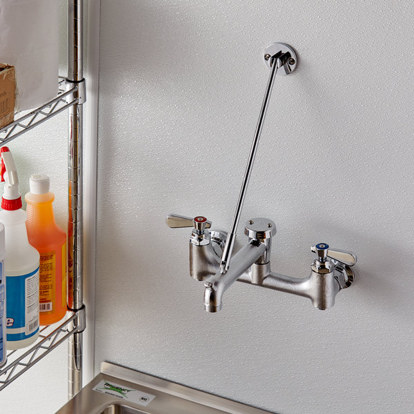 Wall Mounted 6 1 2 Mop Sink Faucet With 8 Centers And Vacuum Breaker