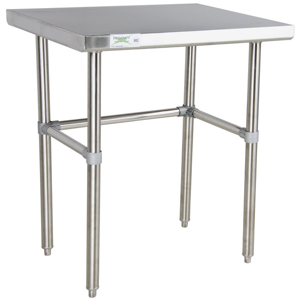 "Regency 24"" x 30"" 16-Gauge 304 Stainless Steel Commercial Open Base Work Table Main Image 1"