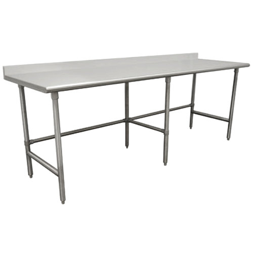 """Advance Tabco TFSS-2411 24"""" x 132"""" 14 Gauge Open Base Stainless Steel Commercial Work Table with 1 1/2"""" Backsplash"""