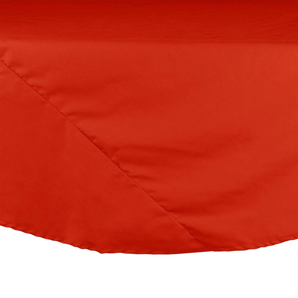 "132"" Orange Round Hemmed Polyspun Cloth Table Cover"