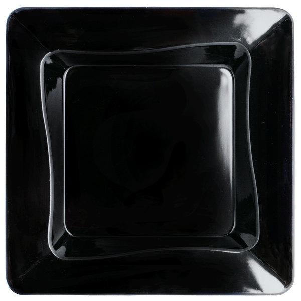 Fineline Tiny Temptations 6200-BK 3 inch x 3 inch Tiny Trays Disposable Black Plastic Tray - 200/Case