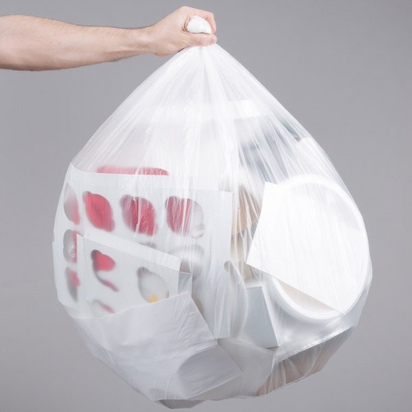 """45 Gallon 16 Micron 40"""" x 48"""" Lavex Janitorial High Density Can Liner / Trash Bag - 250/Case Main Image 3"""