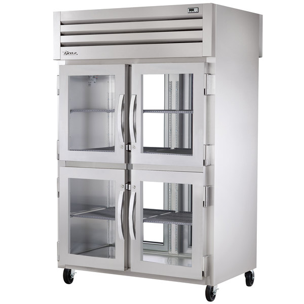 True STA2RPT-4HG-2G Specification Series Pass-Through Refrigerator with Four Half Glass Doors and Two Rear Glass Doors - 56 Cu. Ft.