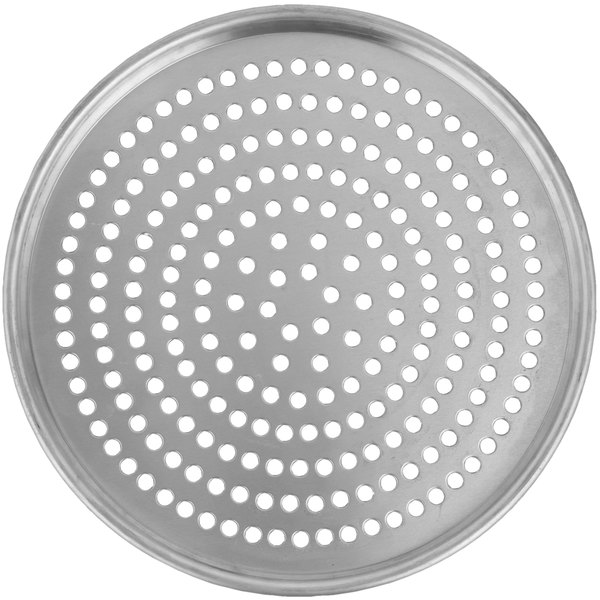 "American Metalcraft SPHA2007 7"" x 1/2"" Super Perforated Heavy Weight Aluminum Tapered / Nesting Pizza Pan"