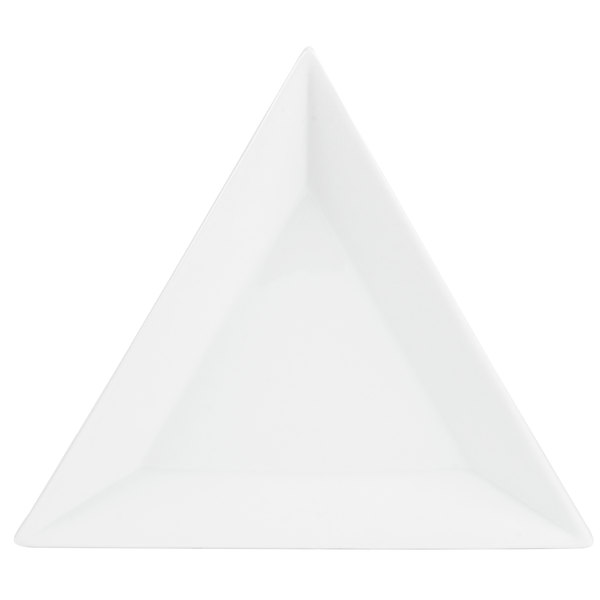 "CAC TUP-8 Triumph 8"" Bright White Triangular Porcelain Plate - 24/Case Main Image 1"