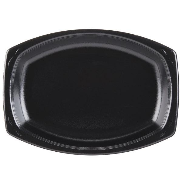 Genpak LAM79-3L Elite 9 inch x 7 inch Black Laminated Foam Platter - 500/Case
