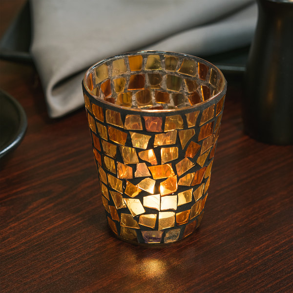 """Sterno Products 80124 4"""" Fall Mosaic Liquid Candle Holder"""