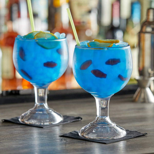 GET plastic schooner with a blue drink and swedish fish
