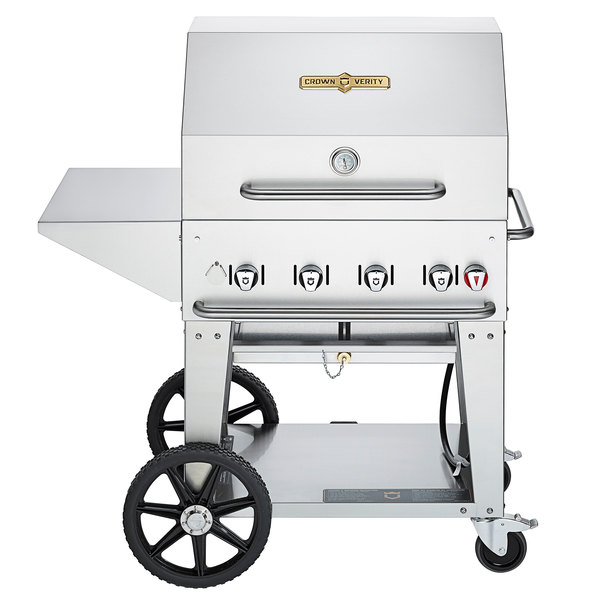 Crown Verity MCB-30-PKG Natural Gas Portable Outdoor BBQ Grill / Charbroiler with Roll Dome, Outdoor Cover, Shelf, and Bun Rack Main Image 1