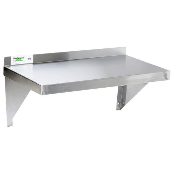 """Regency 16 Gauge Stainless Steel 12"""" x 36"""" Heavy Duty Solid Wall Shelf"""