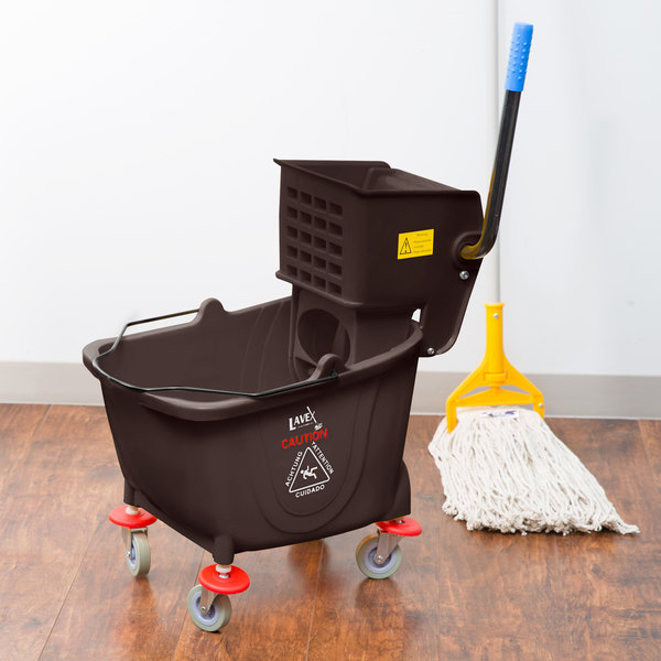 Lavex Janitorial 35 Qt. Brown Mop Bucket & Side Press Wringer Combo