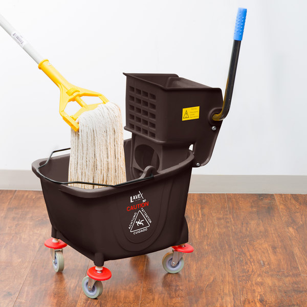 Lavex Janitorial 35 Qt. Brown Mop Bucket & Side Press Wringer Combo Main Image 4