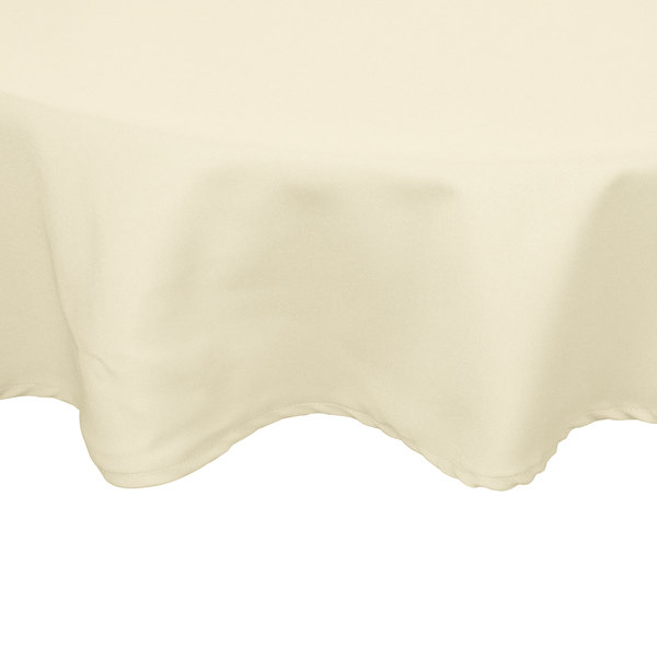 120 inch Round Ivory 100% Polyester Hemmed Cloth Table Cover