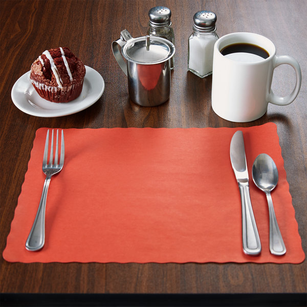 """10"""" x 14"""" Red Colored Paper Placemat with Scalloped Edge - 1000/Case"""