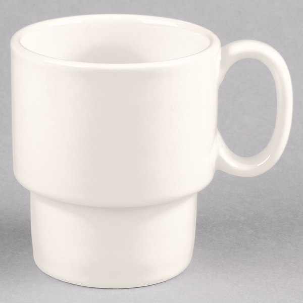 Tuxton BEM-1003 10 oz. Eggshell Stackable China Mug - 24/Case Main Image 1