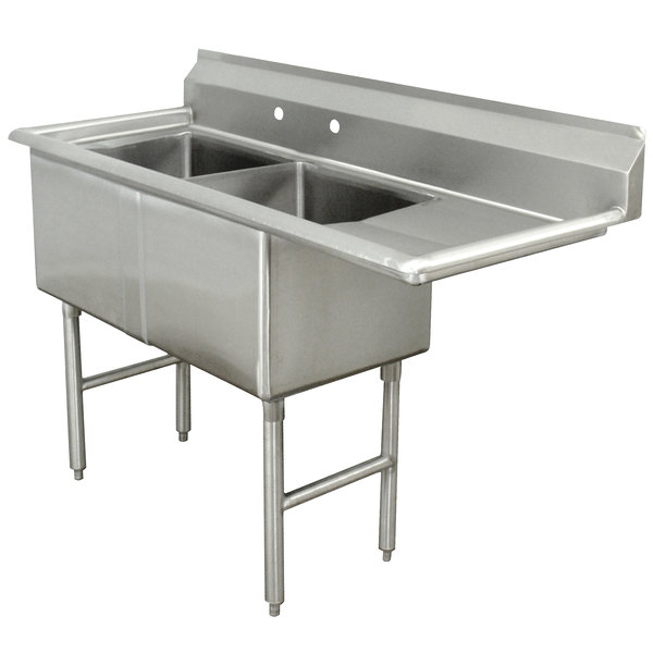 """Right Drainboard Advance Tabco FC-2-2424-18 Two Compartment Stainless Steel Commercial Sink with One Drainboard - 68 1/2"""""""