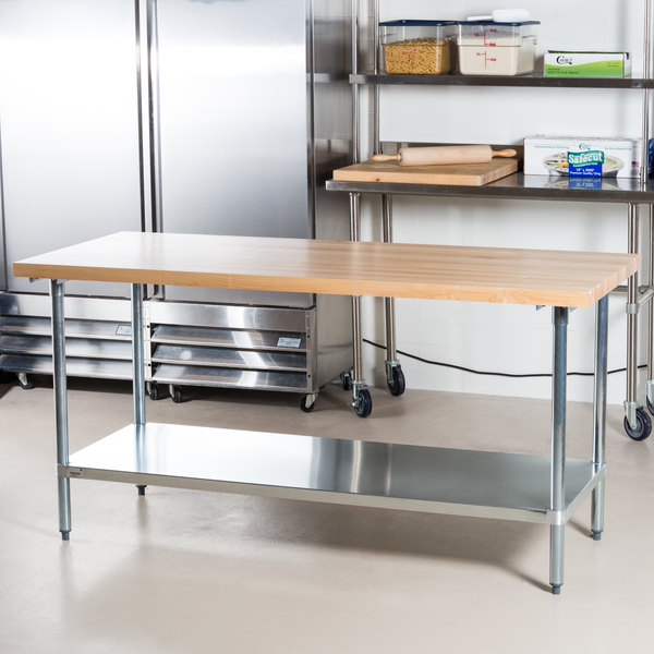 """Advance Tabco H2G-366 Wood Top Work Table with Galvanized Base and Undershelf - 36"""" x 72"""""""