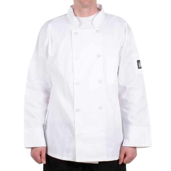 Chef Revival Bronze J100-L Size 46 (L) Customizable White Double-Breasted Chef Coat - Poly-Cotton Blend
