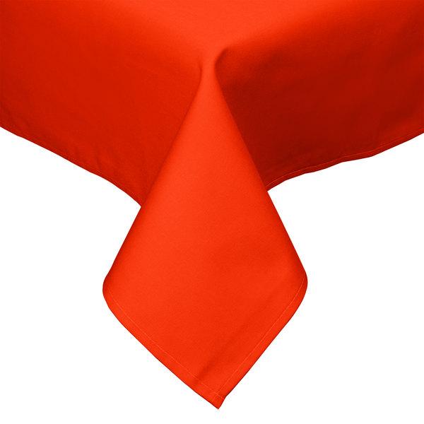 "54"" x 54"" Orange Hemmed Polyspun Cloth Table Cover"