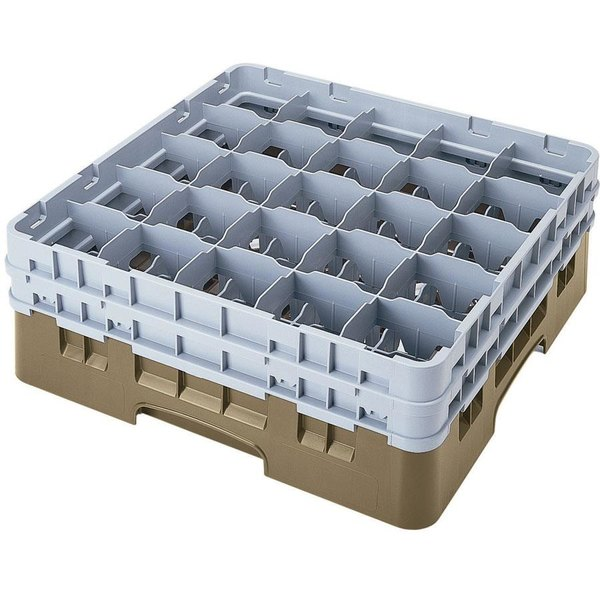 """Cambro 25S1058184 Camrack 11"""" High Customizable Beige 25 Compartment Glass Rack"""