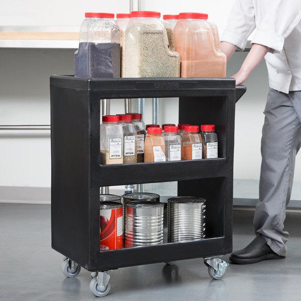 "Cambro BC225110 Black Three Shelf Service Cart - 28"" x 16"" x 32 1/4"" Main Image 3"