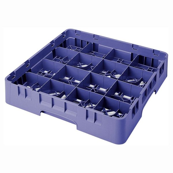 "Cambro 16S434186 Camrack 5 1/4"" High Customizable Navy Blue 16 Compartment Glass Rack"