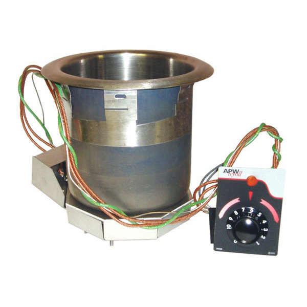 APW Wyott SM-50-7D High Performance 7 Qt. Round Drop In Soup Well with Drain