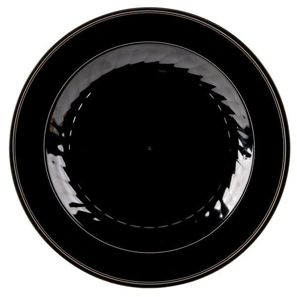 WNA Comet MP10BKGLD 10 1/4 inch Black Masterpiece Plastic Plate with Gold Accent Bands - 120/Case
