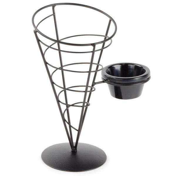 "Tablecraft ACR59 Vertigo Round Appetizer Wire Cone Basket with 1 Ramekin - 5"" x 9"""
