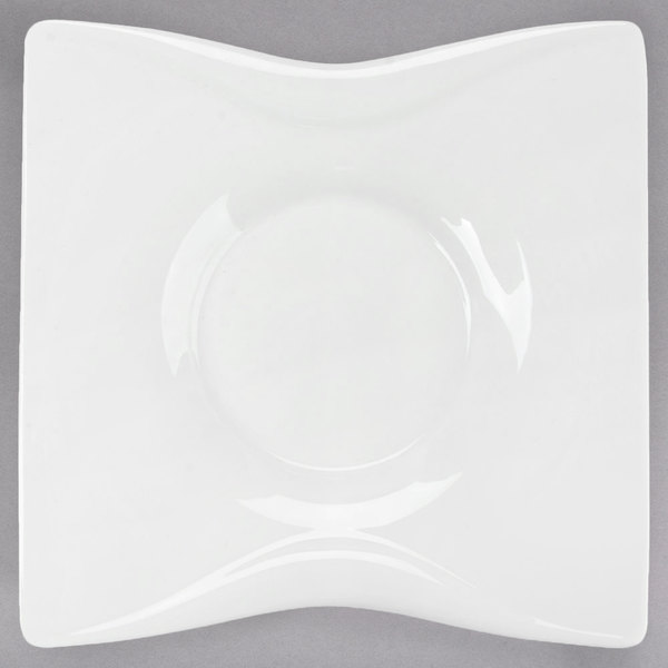 "Chef & Sommelier S2133 Audace 5 1/8"" White Square Porcelain Saucer by Arc Cardinal - 24/Case"