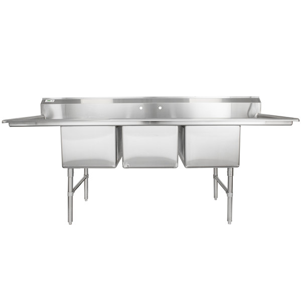 """Regency 94"""" 16-Gauge Stainless Steel Three Compartment Commercial Sink with 2 Drainboards - 18"""" x 24"""" x 14"""" Bowls"""