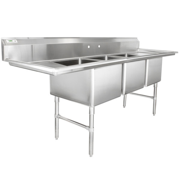 "Regency 94"" 16-Gauge Stainless Steel Three Compartment Commercial Sink with 2 Drainboards - 18"" x 24"" x 14"" Bowls"