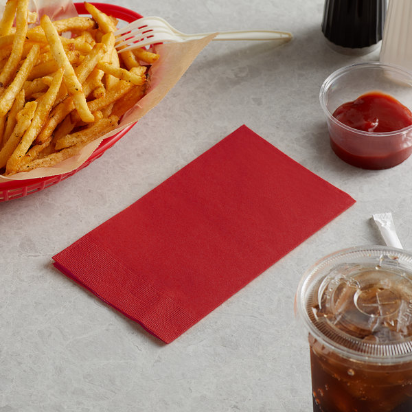 """Choice 15"""" x 17"""" Customizable Red 2-Ply Paper Dinner Napkin - 125/Pack Main Image 3"""