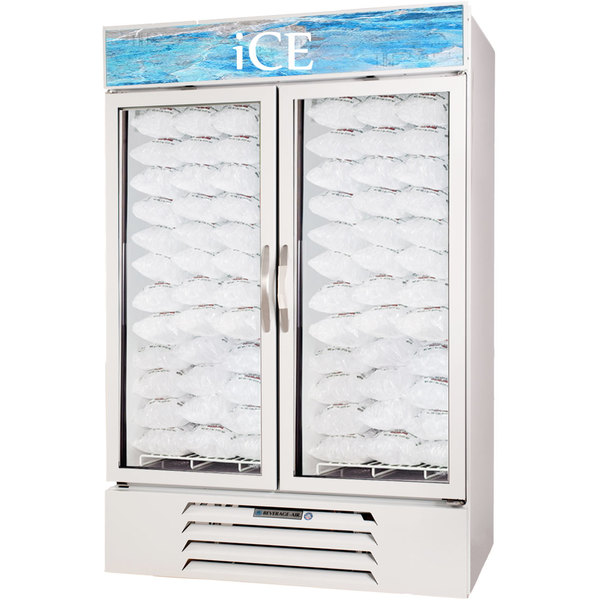 Beverage Air MMF49-W-1-ICE-LED MarketMax White Indoor Ice Merchandiser with LED Lighting and Swing Doors - 49 cu. ft.
