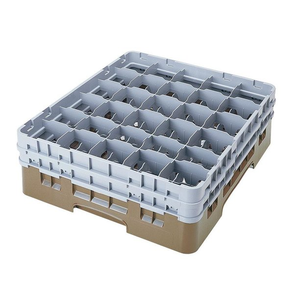 "Cambro 30S638184 Camrack Beige Customizable 30 Compartment 6 7/8"" Glass Rack"
