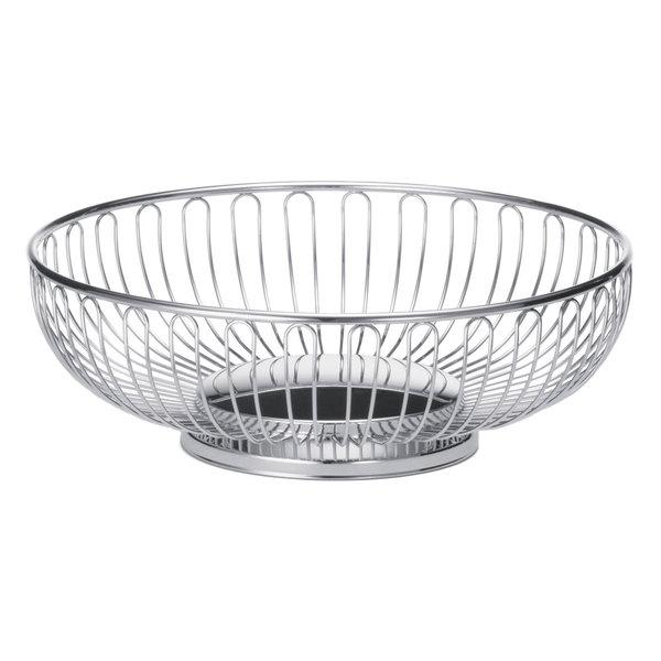 "Tablecraft 4175 Large Round Chrome Basket - 9 3/4"" x 3 1/4"""