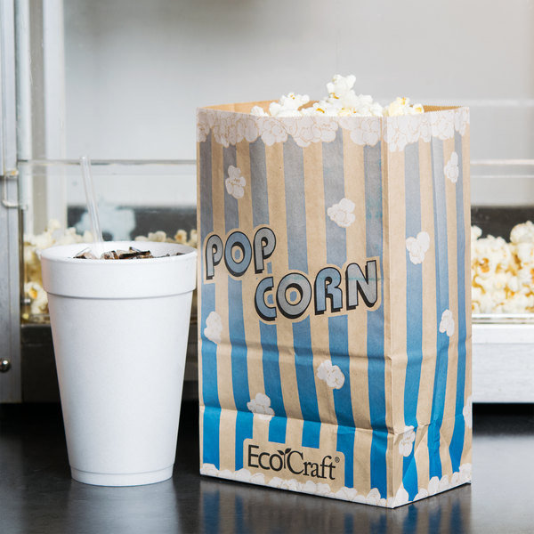 "Bagcraft Papercon 300612 5 1/2"" x 3 1/4"" x 8 5/8"" 85 oz. EcoCraft Popcorn Bag - 500/Case"